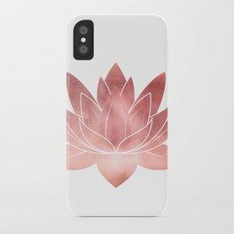Pink Lotus Flower   Watercolor Texture iPhone Case