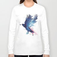blood Long Sleeve T-shirts featuring Bloody Crow by Robert Farkas