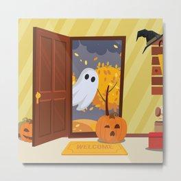 Trick or Treater Halloween Illustration Metal Print
