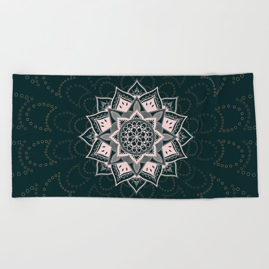 Teal Mandala Beach Towel