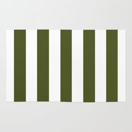 Army green - solid color - white vertical lines pattern Rug
