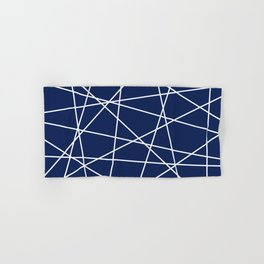 Geometric Lines (white/navy blue) Hand & Bath Towel