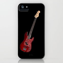 Bass guitar in cherry-colored wood on a black background iPhone Case