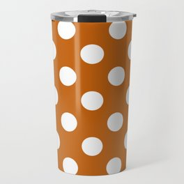 Alloy orange - orange - White Polka Dots - Pois Pattern Travel Mug