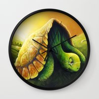 neil gaiman Wall Clocks featuring Tortoise and the Hare, by Neil Price by Neil Price
