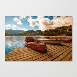 wooden Boat at Lake Bled Slovenia Canvas Print