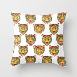tattoo style leopard head Throw Pillow