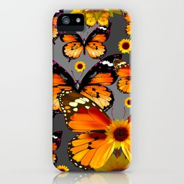 YELLOW & BROWN BUTTERFLIES  SUNFLOWER GREY ART iPhone Case