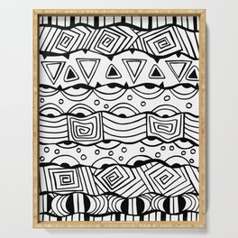 Wavy Tribal Lines with Shapes - Doodle Drawing Serving Tray