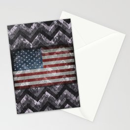 Periwinkle Purple Digital Camo Chevrons with American Flag Stationery Cards
