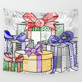 Coloured Christmas Presents Wall Tapestry