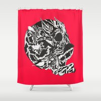 moustache Shower Curtains featuring Skull Moustache by Vasco Vicente