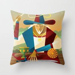 magician juggler with cup, wooden staff, sword and gold tarot card Throw Pillow
