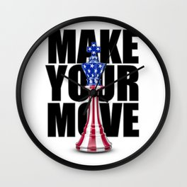 Make Your Move USA / 3D render of chess king with American flag Wall Clock