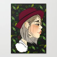 neutral milk hotel Canvas Prints featuring Neutral by hannamitchell
