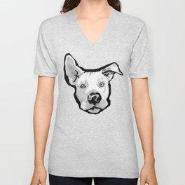 RESCUE ME Pit Bull Pitbull Dog Pop Art black and White Painting by LEA Unisex V-Neck