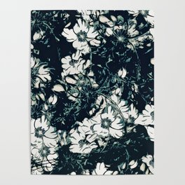 Green, Black, and White Abstract Floral Print Poster