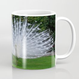 White Peacock on the Green Grass in Spring Coffee Mug