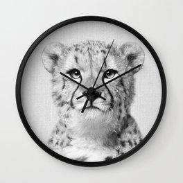 Cheetah - Black & White Wall Clock