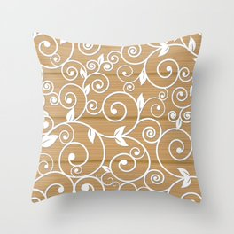 White floral swirls on wood texture Throw Pillow