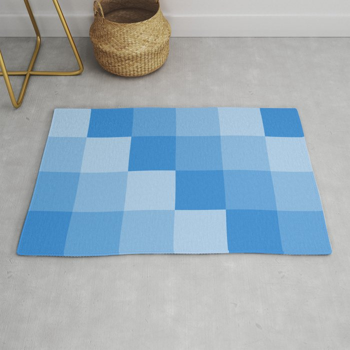 Four Shades Of Light Blue Square Rug By Seyylstart