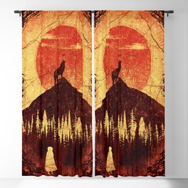 Wolf and Girl Blackout Curtain