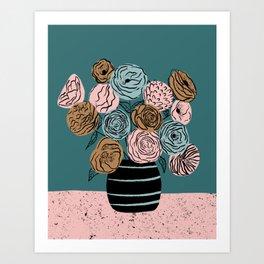 Moody flowers in vase Art Print