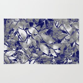 Grunge Art Silver Floral Abstract G169 Rug