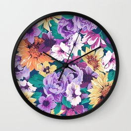 Colorfu summer flowers collage pattern Wall Clock