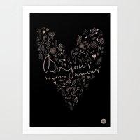 bonjour Art Prints featuring Bonjour by oh, sensation!