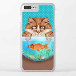 Cat with Goldfish Bowl Whimsical Kitty and Fish Clear iPhone Case