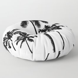 Monochrome tropical palms Floor Pillow