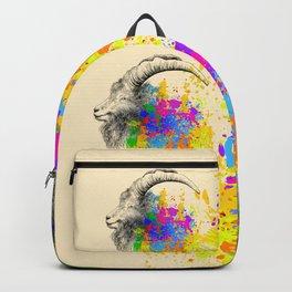 Mountain Goat, Ram portrait Backpack