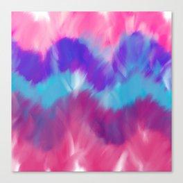 Modern geometrical pink blue teal watercolor ikat Canvas Print