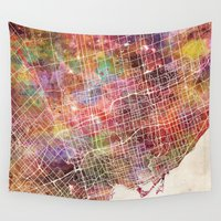 toronto Wall Tapestries featuring Toronto by MapMapMaps.Watercolors