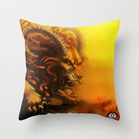 fierce Throw Pillows featuring Fierce by Armored Collective