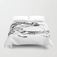 hobbes Duvet Covers featuring Calvin and Hobbes line-work caricature design by Eric Goodwin