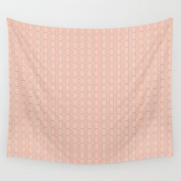 Peach and Silver Tile Square Pattern Wall Tapestry
