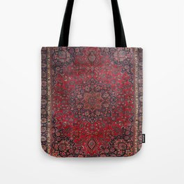 Old Century Persia Authentic Colorful Purple Blue Red Star Blooms Vintage Rug Pattern Tote Bag