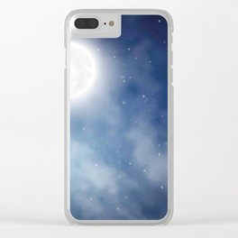 Night sky moon Clear iPhone Case