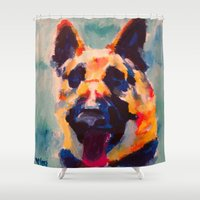 german Shower Curtains featuring German Shepherd by Heather Hartley