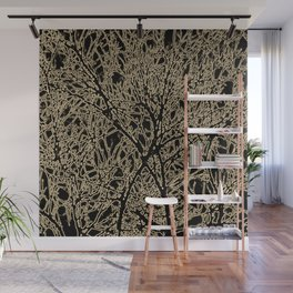 Tangled Tree Branches in Black and Sepia Wall Mural