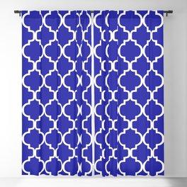 Moroccan Trellis (White & Navy Blue Pattern) Blackout Curtain