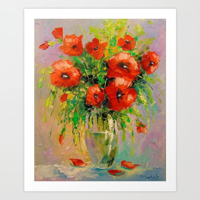 Bouquet of poppies in vase Art Print