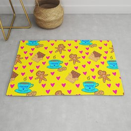 Lovely sweet gingerbread cookies, chocolate bars, cups of hot cocoa, hearts yellow winter pattern Rug