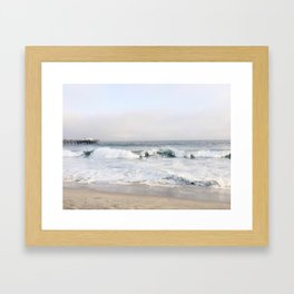 Crashing waves & hazy skies Framed Art Print