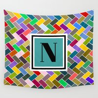 monogram Wall Tapestries featuring N Monogram  by mailboxdisco