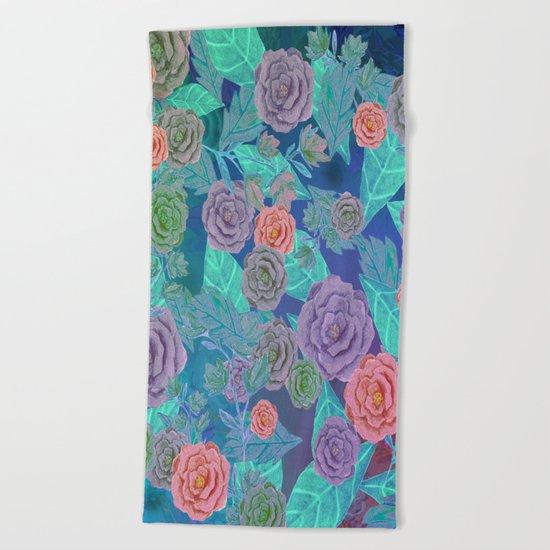 Vintage Flowers (Blue) Beach Towel