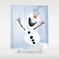 olaf Shower Curtains featuring Olaf Frozen  by Lemo Boy