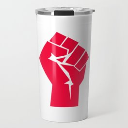 Raised fist, black power, fight for your rights (red version) Travel Mug